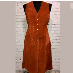 Hide-Away Vintage Suede Festival Skirt Vest
